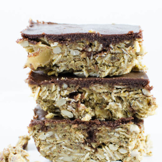 Gluten-Free, dairy-free, white sugar-free chocolate covered granola energy squares